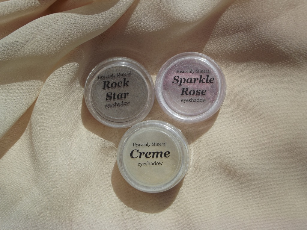 "Минеральные тени Heavenly Mineral Make Up Eyeshadow ""Sparkle Rose""; ""Creme""; ""Rock Star"""