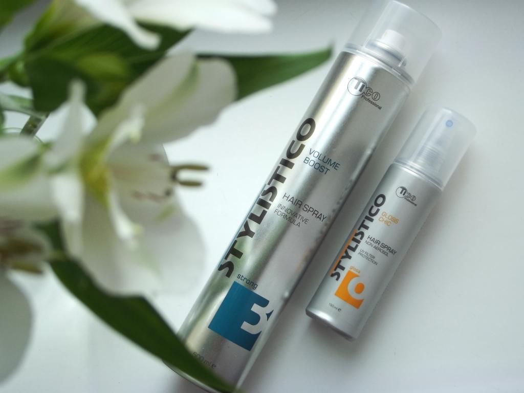 Tico Professional Stylistico Gloss Chic Hair Spray & Stylistico Volume Boost Hair Spray Спрей для блеска волос и Лак для волос сильной фиксации