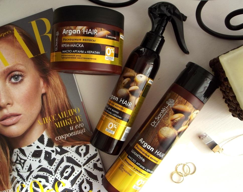 Dr. Sante Argan Hair «Роскошные волосы» Шампунь, маска и спрей для легкого расчесывания волос