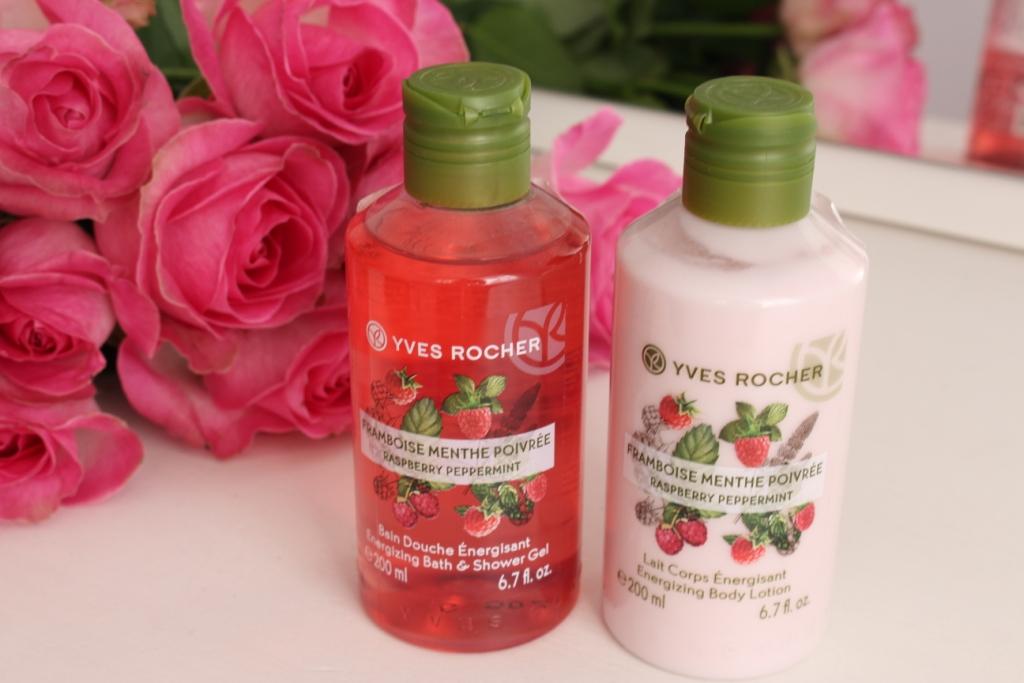 Yves Rocher Raspberry Peppermint Energizing Bath&Shower Gel and Body Lotion Гель для ванны и душа и Лосьон для тела