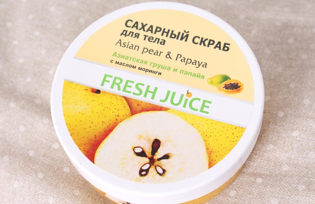 "Fresh Juice Asian Pear & Papaya Сахарный скраб для тела ""Азиатская груша и папайя"""