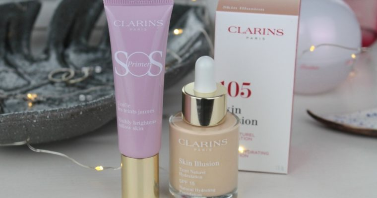 "Новинки Clarins: Праймер SOS Primer Visibly Brightens Sallow Skin ""05 Lavander"" и Тональная основа Skin Illusion Natural Hydrating Foundation SPF15 ""105 Nude"""