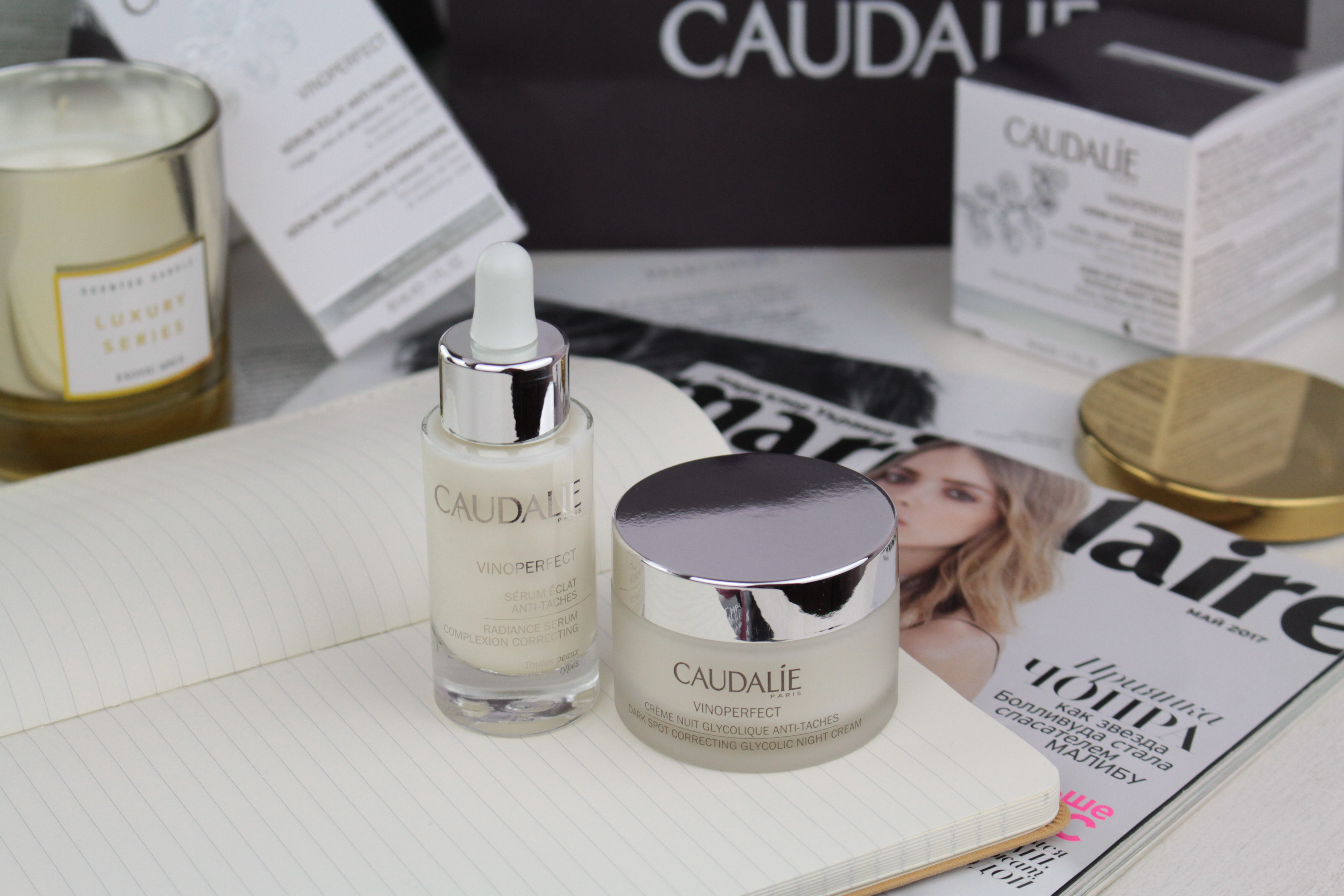Caudalie Vinoperfect Radiance Serum Complexion Correcting & Dark Spot Correcting Glycolic Night Cream Сыворотка и Ночной Крем